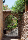 Wrought iron gate on the narrow street fornalutx majorca island Royalty Free Stock Photos