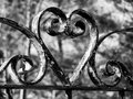 Wrought iron heart garden gate Stock Photography