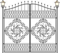 Wrought iron lamp lantern gate design with Royalty Free Stock Photography