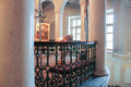 Wrought iron staircase grill.