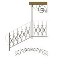 Wrought iron stairs railing and canopy Stock Photo