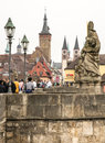 Wuerzburg germany april tourists at the historic main bridge of germany on april the historic city is over years old Royalty Free Stock Image