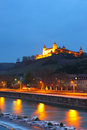 Wurzburg marienberg fortress in at night germany Stock Photos