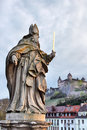 Wurzburg sculpture on old bridge in germany a d Stock Image