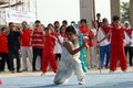Wushu martial athletes plays a arts in solo central java indonesia is a art from countries china Stock Image