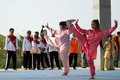 Wushu martial athletes plays a arts in solo central java indonesia is a art from countries china Stock Photography