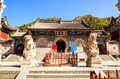 Wutaishan mount wutai scene longquan temple main gate the is one of temples the is one of famous buddhist holy land and tourism Royalty Free Stock Photo