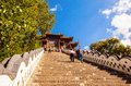 Wutaishan mount wutai scene the steps in front of buddha top pusa ding temple is one temples qing dynasty was royal is Royalty Free Stock Photos