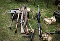 Ww guns collection of on grass Stock Photography