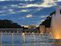 Ww ii monument washington dc night memorial fountains at with view of the lincoln memorial Royalty Free Stock Photography
