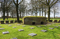 Ww war cemetery in flanders langermark german belgium with concrete bunker Stock Photography