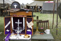 Wwii chaplain army objects in tent Royalty Free Stock Images
