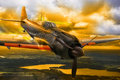 Wwii japanese mitsubishi zero fighter plane a m from world war ii flight over dramatic evening landscape Royalty Free Stock Photo