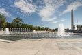 WWII Memorial with the Washington Monument Royalty Free Stock Photo