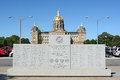 Wwii monument in des moines iowa august front of the state capitol building the memorial was dedicated by Royalty Free Stock Photography