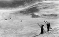 Before WWII, winter 1939 skiers on Monte Bondone, Italy Royalty Free Stock Photo