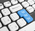 Www button blue on white keyboard background Stock Photos