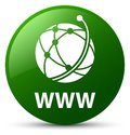 WWW (global network icon) green round button Royalty Free Stock Photo