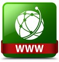 WWW (global network icon) green square button red ribbon in midd Royalty Free Stock Photo