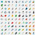 100 www icons set, isometric 3d style Royalty Free Stock Photo