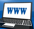Www on laptop shows websites internet web or net showing Royalty Free Stock Images