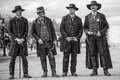 Wyatt Earp and brothers in Tombstone Arizona during wild west show Royalty Free Stock Photo