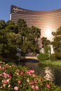 The wynn in las vegas nv on april tryst is main club located famous for having a foot waterfall and lake Royalty Free Stock Photo