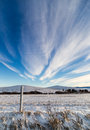 Wyoming skies shine a deep blue across the windblown prairie Stock Photo
