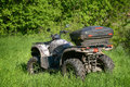 X atv in the forest at sunny day Stock Photo