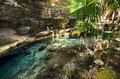 X batun cenote natural lagoon with transparent turquoise wate water surrounded by rocks and tropical vegetation Royalty Free Stock Photography
