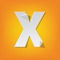 X capital letter fold english alphabet New design