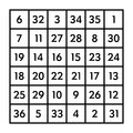 6x6 magic square with sum 111 of the Sun Royalty Free Stock Photo