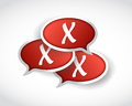 X mark message bubbles illustration design over a white background Royalty Free Stock Photo