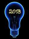 X-Ray lightbulb with sparkling 2013 digits inside Stock Image