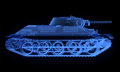 X ray version of soviet t tank isolated on black Royalty Free Stock Photography