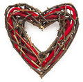 X-tmas or St.Valentine wicker wreath Stock Image