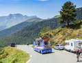 X tra total caravan in pyrenees mountains tour de france col d aspin july during the passing of the publicity on the col d aspin Royalty Free Stock Images