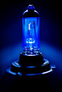 Xenon h car lighting equipment lamp light glass bulb on blue technological background Royalty Free Stock Images