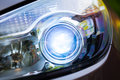 Xenon headlamp optics close up view Stock Photo