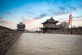 Xi an ancient city wall scenery at dusk china Royalty Free Stock Images
