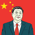 Xi Jinping Vector Portrait Illustration with People`s Republic of China Flag Background. July 30, 2017