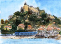 Xiamen gulangu china gulangyu riguangyan watercolor painting Royalty Free Stock Photos