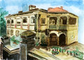 Xiamen gulangyu house watercolor on paper Royalty Free Stock Photos
