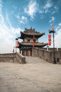 Xian ancient turret on city wall china Royalty Free Stock Photography