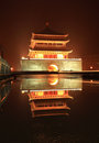 Xian bell tower in night after rain Royalty Free Stock Photos