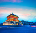 Xian bell tower in nightfall ancient city Stock Photos