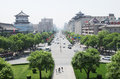 Xian china urban view of city center of with modern and historical buildings Royalty Free Stock Photos