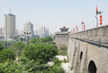 Xian china view of city wall and modern buildings is the old capital of Royalty Free Stock Photography