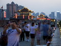 Xian city wall at dusk crowded Royalty Free Stock Image