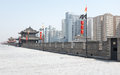 Xian city wall view of famous ancient and modern buildings in china Royalty Free Stock Image